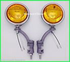 "12 Volt Amber Glass 5"" Fog Lights with Painted Bumper Brackets - GM"