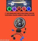 "97-14 JEEP WRANGLER 7"" PROJECTOR 6500 HID LED BLUE HALO SIGNAL HEADLIGHT SINGLE"