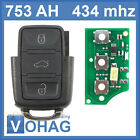 VW Skoda transmitter key remote control Square 3 Button 1J0959753AH 434 Mhz