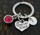 PERSONALIZED Special Niece Keychain - choose your Initial and Birthstone