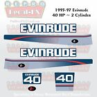1995-97 Evinrude 40HP 2 Cylinder Outboard Reproduction 7Pc Marine Vinyl Decals