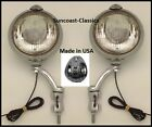 Mopar Fog Lights Made in USA Mopar Logo 6 volt 6 inch Chrome Brackets Clear