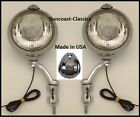 GMC Fog Lights Made in USA GMC Logo 6 volt 6 inch Chrome Brackets Clear