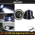 3.5'' Inch Car COB White Angel Eye Halo Rings Projector LED Fog Head Lamp USA