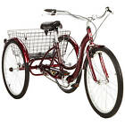 Three Wheel Bikes For Adults Tricycles Schwinn 3 Trike Rear Basket Cherry Red