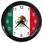 Mexico Wall Clock (Black) - Mexican Flag