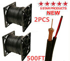 2X SIAMESE CABLE RG59 500FT VIDEO POWER 95%BRAID 20AWG+18/2 SECURITY CAMERA USA