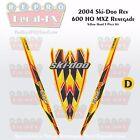 2004 Ski-doo Rev MXZ600HO Yellow Hood Panel Reproduction Vinyl Decal Set 3Pc DPM