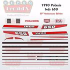 1990 Indy 650 Polaris Graphics Reproduction 23 Piece Decal Snowmobile Kit