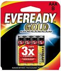 4 Pack Lot of - A92BP-8 Eveready Gold AAA Batteries 8 - Free Shipping