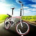 "Red 20"" Folding Mountain Bicycle 6-Speed Foldable Bike Student School Sport City"