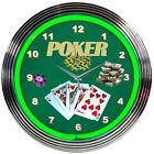 "Poker Green Play Room Neon Clock 15""x15"""
