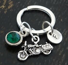 PERSONALIZED Harley Davidson Keychain - choose your Initial and Birthstone