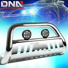 FOR 88-00 SILVERADO C/K C10 TRUCK CHROME BULL BAR GRILLE GUARD+CLEAR FOG LIGHT