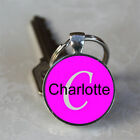Handmade Charlotte Name Monogram Glass Dome Keychain (GDNKC0544)