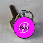 Handmade Bea Name Monogram Glass Dome Keychain (GDNKC0308)