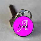 Handmade Ariel Name Monogram Glass Dome Keychain (GDNKC0099)