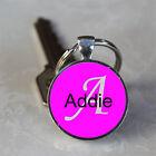 Handmade Addie Name Monogram Glass Dome Keychain (GDNKC0009)