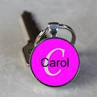 Handmade Carol Name Monogram Glass Dome Keychain (GDNKC0520)