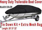 20'21' 22' Trailerable Fish Ski Boat Cover 600D Waterproof Beam 100 V-Hull Black