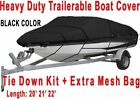 """20-22 Ft 600D Fabric Heavy Duty Waterproof Trailable Boat Cover V-Hull 100"""" Beam"""