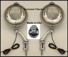 Willys Fog Lights Made in USA Willys Logo 6 volt 6 inch Chrome Brackets Clear