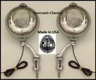 Cadillac Fog Lights Made in USA  12 volt 6 inch Chrome Brackets Clear