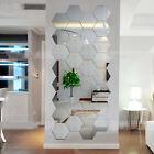Hexagonal 3D Mirrors Wall Stickers Home Decor Living Room Mirror Wall Sticker LN