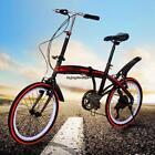 "Folding Bike 20"" 6 Speed Bike Fold Storage Black College School"