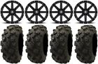 "MSA Black Clutch 14"" UTV Wheels 28"" Black Diamond Tires Yamaha Viking Wolverine"