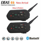 EJEAS-E6 2x 1200M BT Motorcycle Helmet Interphone Intercom Headset 6 Riders