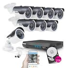 TECBOX 8 Channel Home Security Camera System 720P AHD DVR Recorder 2TB Hard D...