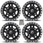 "Fuel Anza ATV Wheels Black 15"" Honda Rincon Rancher (4)"