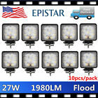 "10PCS 4"" 27W Flood LED Work Light Offroad Fog Driving Lamp SUV Truck Jeep 5D LEN"