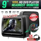 "2x 9"" Headrest Monitor Black Leather 1080p built-in DVD Player Games USB SD HDMI"
