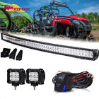 ATV UTV Off Road 50' LED Light Bar Curved DC 12V w/ Wiring &Pods Kit Double Row
