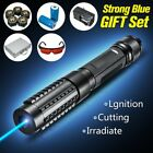445nm Focus Blue Beam Laser Pointer Pen 5 Star Caps + Box + Charger+ Goggles 5MW