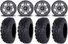 "Fuel Anza Gunmetal 14"" Wheels 30"" Bajacross Tires Yamaha Grizzly Rhino"
