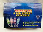 1 CASE = 24 LED RHINE STONE 6 LED STUBBY KEYCHAIN FLASHLIGHT 4 DIFFERENT COLORS