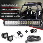 "22"" Led Light Bar + 2x Pod + Wiring Kit Fit Polaris RZR RZR4 Ranger 1000 900 570"