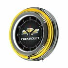 Chevrolet Chrome Double Ring Neon Clock 14""