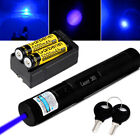 20Miles 405nm Blue Laser Pointer Pen 1mW Visible Beam Lazer + Battery&Charger US