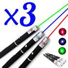 3PCS 1mW Red+Green+Blue Laser Pointer Pen Visible Beam Light Laser