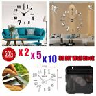 New LOT Modern DIY Large Wall Clock 3D Mirror Surface Sticker Home Office Decor!