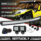 """For YAMAHA 16-UP YXZ1000R Top Roof 42"""" 240W Curved LED Light Bar + Wiring + Pods"""