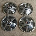 """Vintage Ford 14"""" Hubcaps With Spinner"""