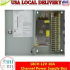 18CH Security Camera Power Supply Box DC 12V 10A Distribution for CCTV System TO