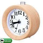 Classic Small Round Wood Grain Mute Table Alarm Clock with Nightlight Durable
