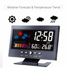Digital Display Thermometer humidity clock Colorful LCD Alarm Calendar Weather L
