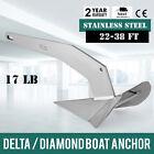 Delta / Diamond Boat Anchor 17LB 7.7Kg 22-38ft 316 Stainless Steel high-grade